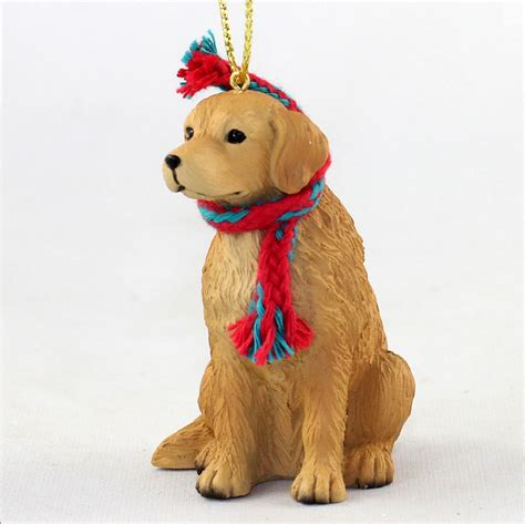 golden retriever dog christmas ornament scarf figurine