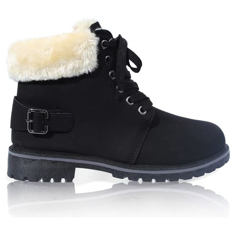 womens lace up collar fur lined winter warm ankle
