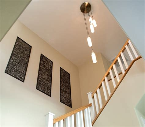 staircase hanging lights stair lighting craftsman staircase los angeles