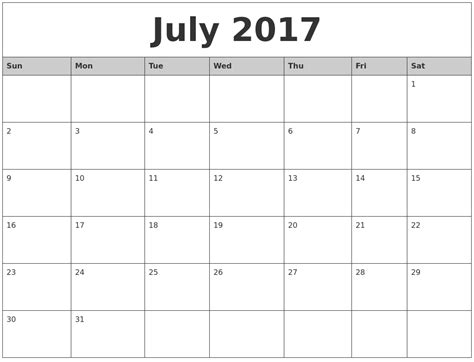 Calendar 2017 Monthly To Print Printable Monthly Calendars 2017