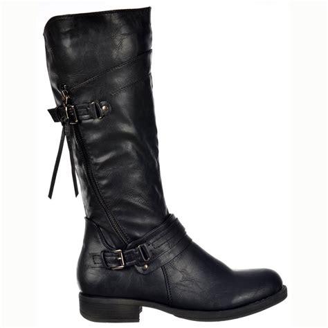 biker boots uk shoekandi buckled biker boots with straps and zip feature