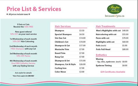 regis hair price list regis hair salon price list regis prices