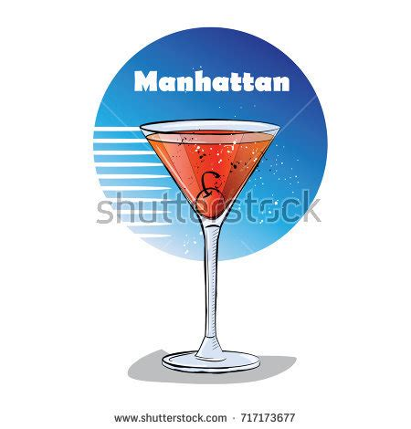 manhattan drink illustration mary pickford cocktail consisting rum maraschino stock
