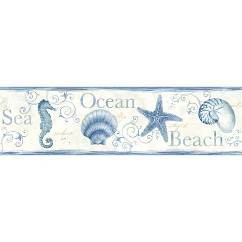 Border Stiker Shells Blue 2011 List Stiker blue seashells border island bay sand dollar by chesapeake