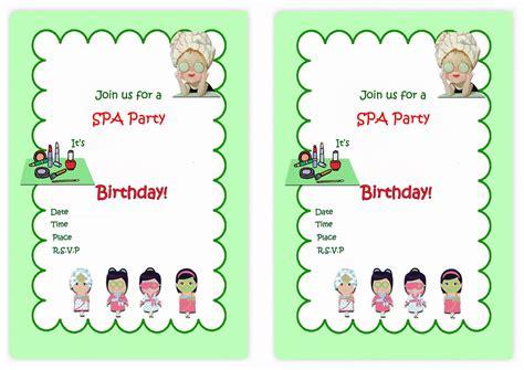 free printable birthday invitations spa theme spa themed birthday invitations birthday printable