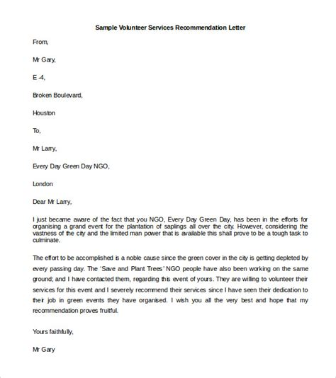 Letter Of Recommendation Volunteer letter of reference exles for volunteers cover letter
