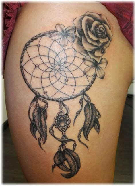 girly dreamcatcher tattoo designs dreamcatcher on left thigh jpg 736 215 1008