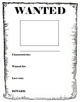 black and white wanted poster template wanted poster template by miss db teachers pay teachers