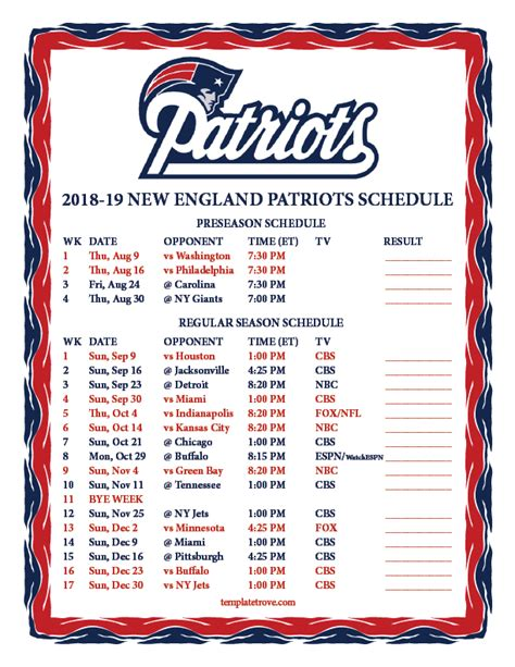 2018 Nfl Printable Schedule