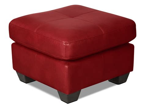 leather look ottoman costa leather look fabric ottoman red united furniture