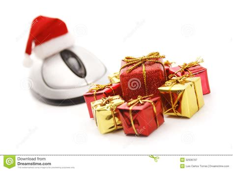christmas gifts on line royalty free stock photography