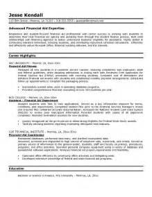 Financial Resume Exles by Exle Financial Aid Resume Free Sle
