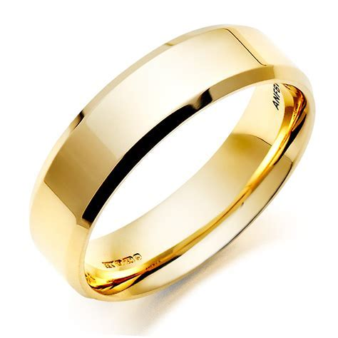 Men's 18ct Gold Bevelled Edge Wedding Ring   0005031