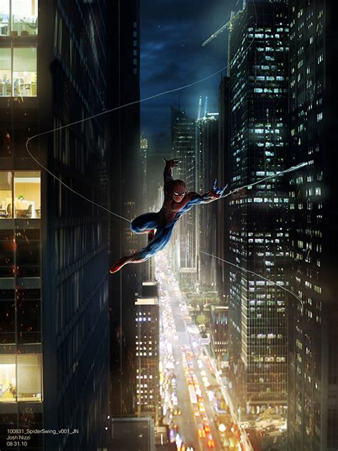 the amazing spider man swing the amazing spider man concept art cut new york chase