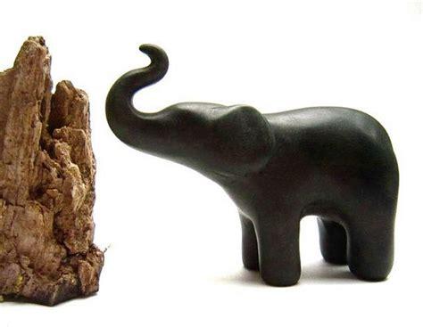 Handmade Sculptures - celery green small elephant sculpture polymer clay