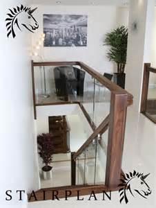 Bespoke Handrails Black Walnut Balustrade X Vision Glass With Brackets