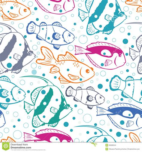 seamless pattern hand drawn seafood colorful fish vector seamless pattern background stock