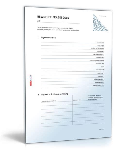 Anschreiben Fragebogen Beispiel Bewerber Fragebogen