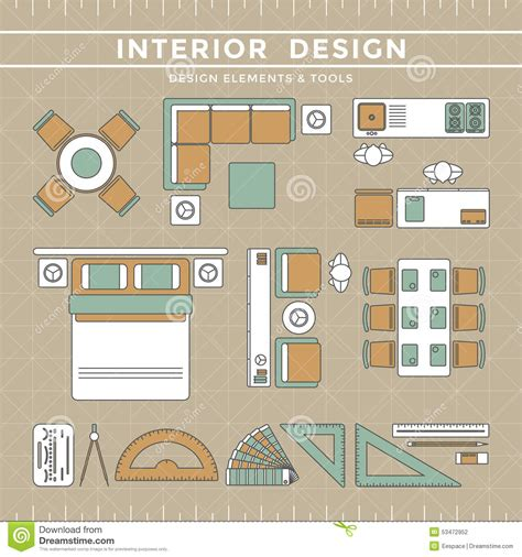 interior design elements interior design layout tools stock vector image 53472952