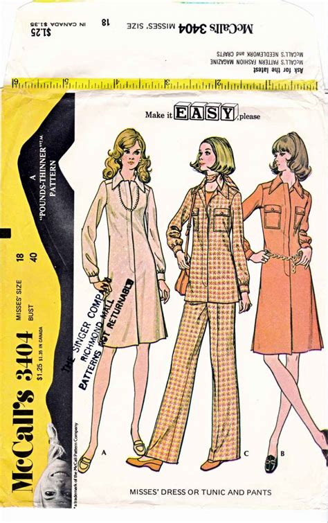 Tunic Simple Zipper Depan mccall s sewing pattern 3404 m3404 misses size 18 easy zipper front dress tunic pantsuit
