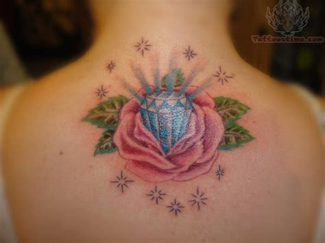 rose with diamond tattoo on back