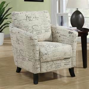 Printed Chairs Living Room Beige Vintage Script Arm Chair Modern Club Accent Living Room Furniture Ebay