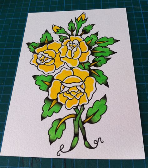 traditional rose tattoo flash flowers therewassomethingwrong