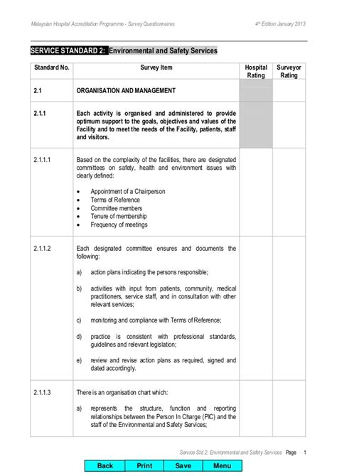 safety survey template msqh 4th edition standard 2 environment and safety
