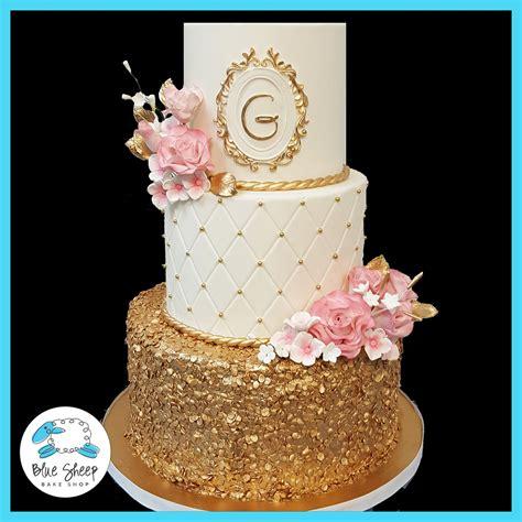 Wedding Cakes Nj by Pink And Gold Wedding Cake Nj Blue Sheep Bake Shop