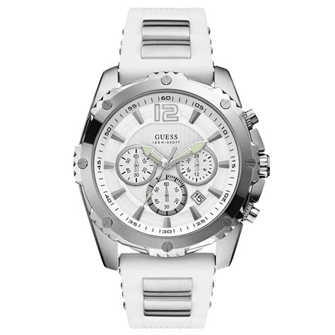 Guess 3chrono White guess mens chronograph steel and white silicone 47mm in white for no color