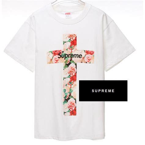 Tshirt Supreme Ione Clothing supreme nyc floral cross t shirt white