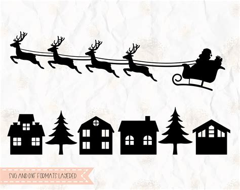 santa clause on sleigh reindeer rudolph svg layered