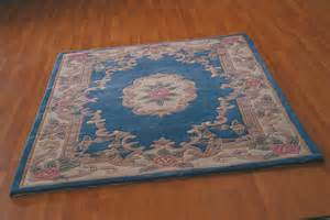 premium aubusson wool rug blue in various sizes