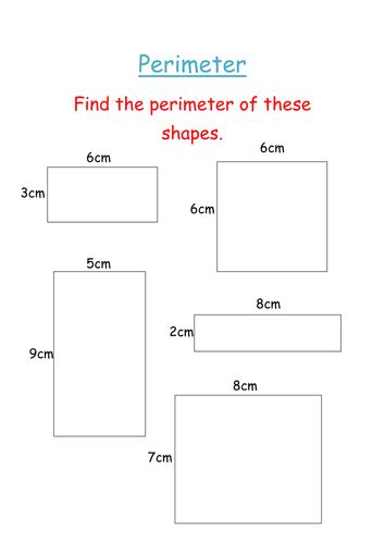 perimeter of squares and rectangles sheet by groov e chik