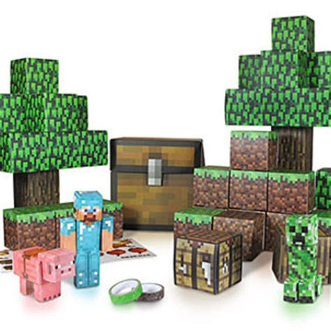 Papercraft Sets - minecraft papercraft sets minecart set from thinkgeek