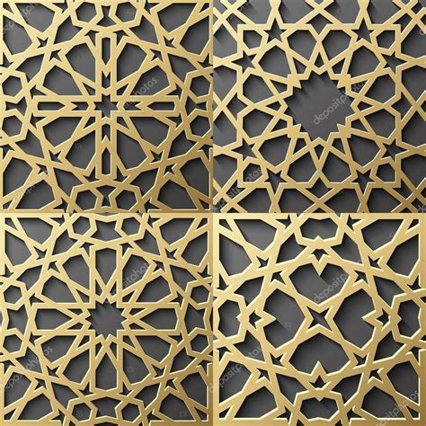 islamic pattern ornament islamic pattern set of 4 ornaments seamless arabic