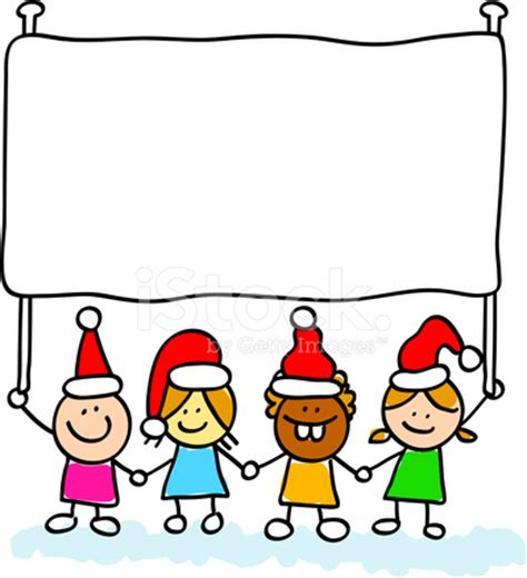 new year kids with banner cartoon illustration stock