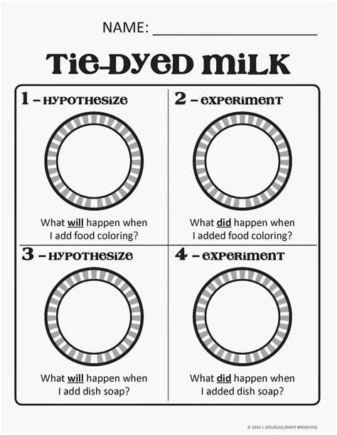 milk and food coloring milk and food coloring experiment worksheet color of