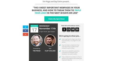 The Ultimate List Of Free Landing Page Templates From Leadpages Leadpages Webinar Template