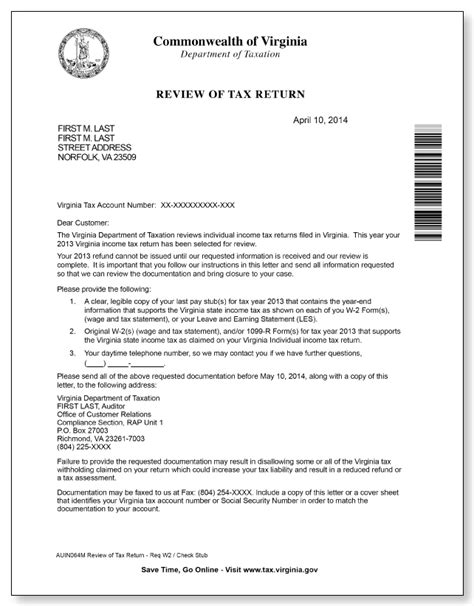 tax return cover letter virginia department of taxation review of tax return letter
