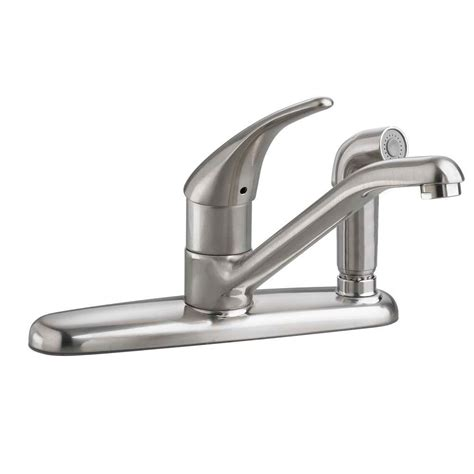 american kitchens faucet american standard arch single handle standard kitchen faucet with side sprayer in stainless
