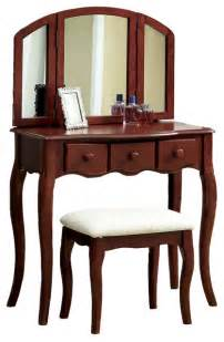 Bedroom Vanity Table With Drawers Tri Folding Mirror 3pc Wood Make Up Table Padded Bench Drawers Vanity Set Cherr Transitional
