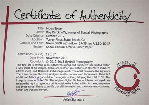 limited edition print certificate of authenticity template selling your at an show or festival