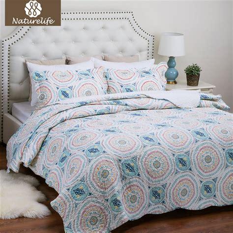 lightweight bed cover naturelife blue aqua boho medallion pattern quilt set