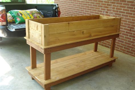 Building A Raised Planter Box by Diy Standing Raised Garden Planter Box Using Recycled Wood With Storage Ideas