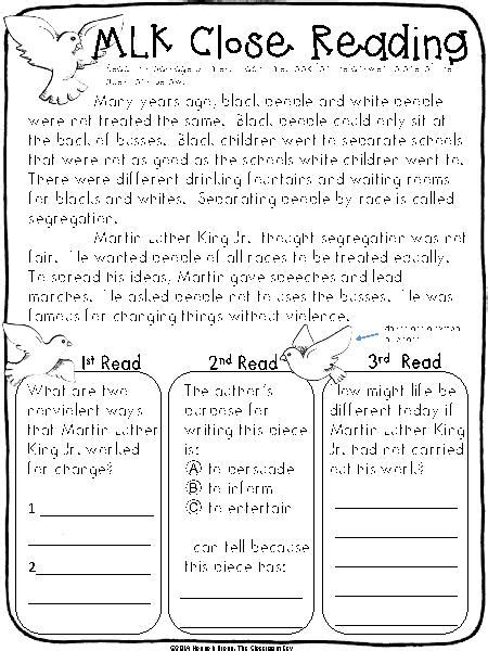 Martin Luther King Jr Math Worksheets by 14 Best Images Of Martin Luther King Reading Worksheets