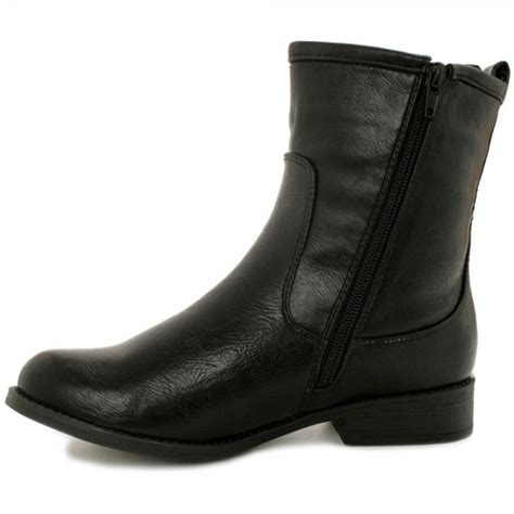 buy demure flat ankle boots black leather style