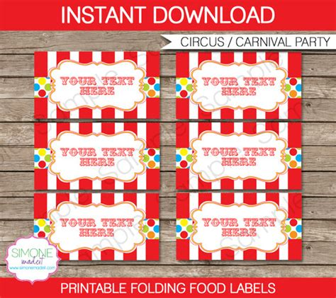 Carnival Themed Names | carnival food labels circus food labels carnival theme