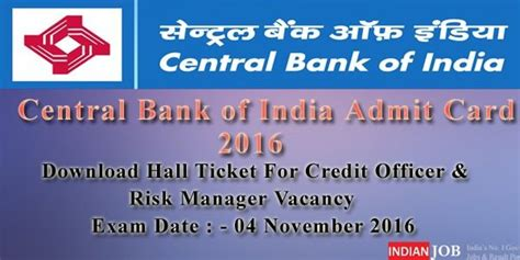 cbi bank central bank of india admit card 2016 credit officer