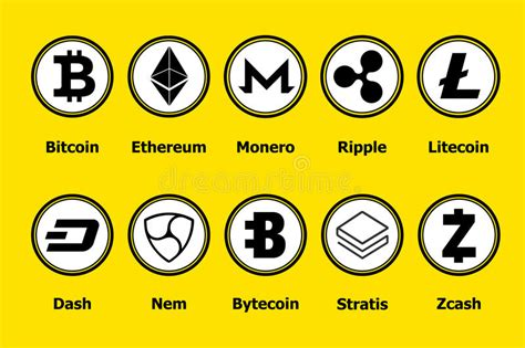 cryptocurrency investing traiding and mining in blockchain bitcoin ethereum and altcoins books cryptocurrency blockchain icons a yellow background set